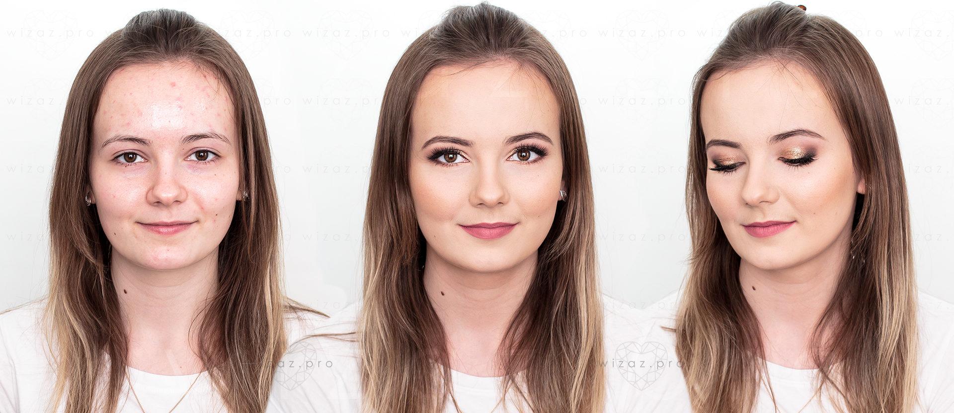 Rozświetlający makijaż ślubny dla szatynki z brązowymi oczami