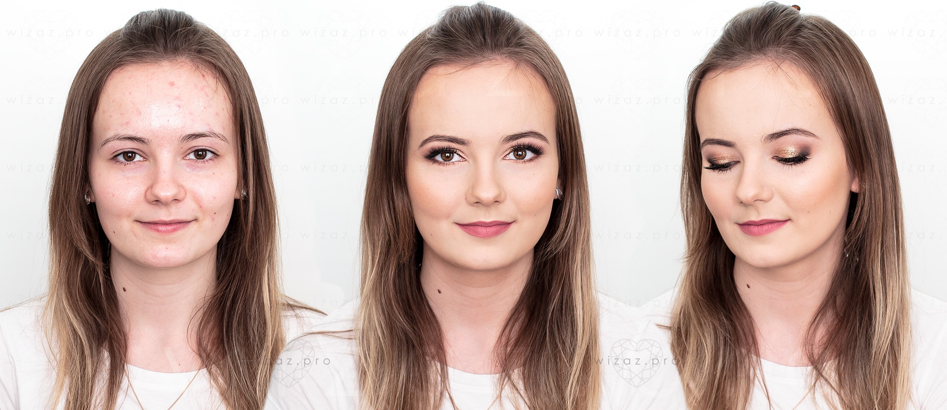 Makijaż ślubny rozświetlający dla rudej rudzielca szatynki - piwne brązowe oczy - Wizaż PRO Kraków