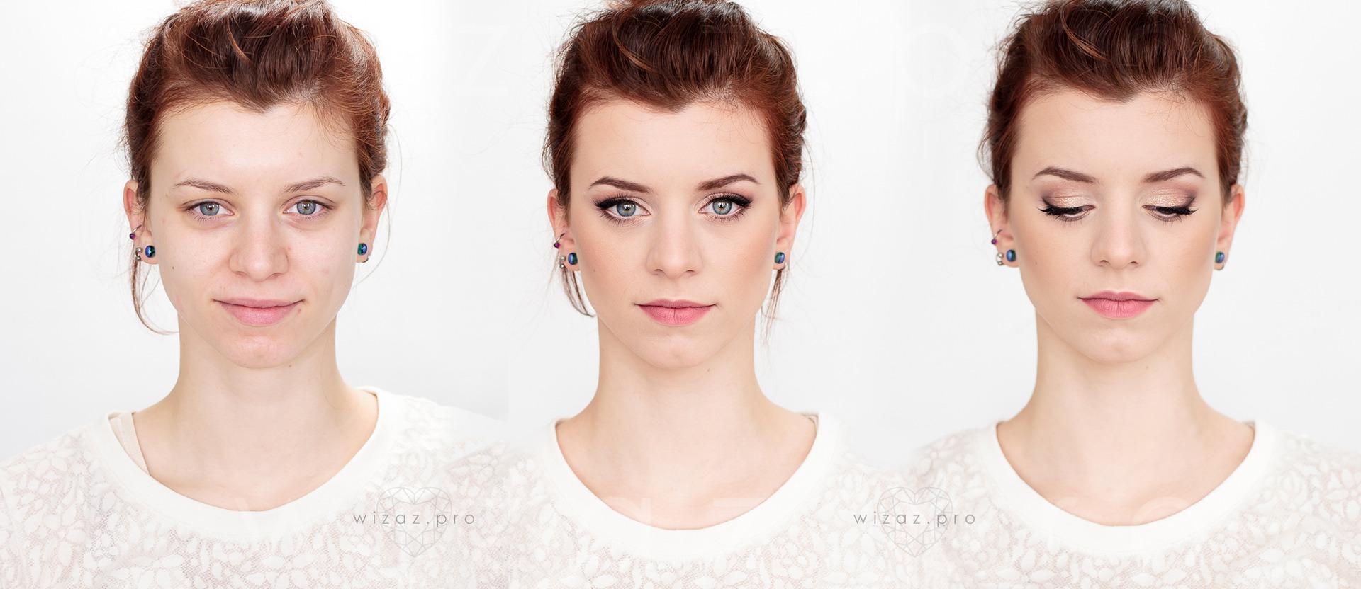 Makijaż ślubny delikatny rozświetlający dla rudej rudzielca - niebieskie oczy - Wizaż PRO Kraków