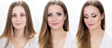 Mocny i rozświetlający makijaż ślubny dla blondynki z niebieskimi oczami