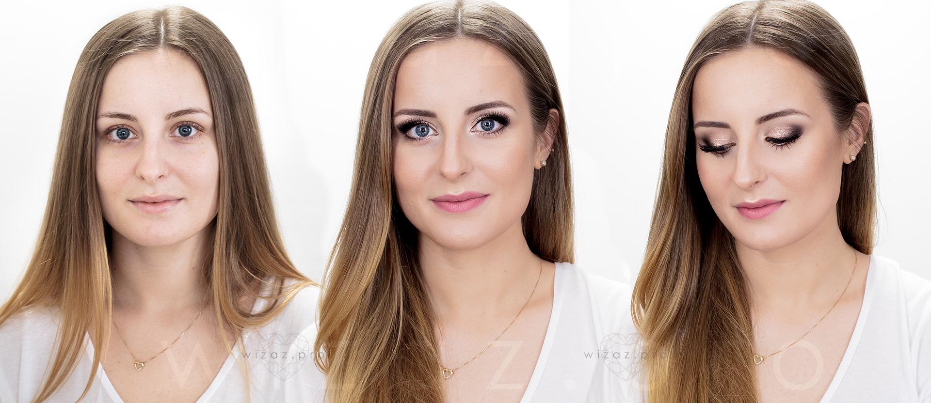 Makijaż ślubny rozświetlający dla blondynki - niebieskie oczy - Wizaż PRO Kraków