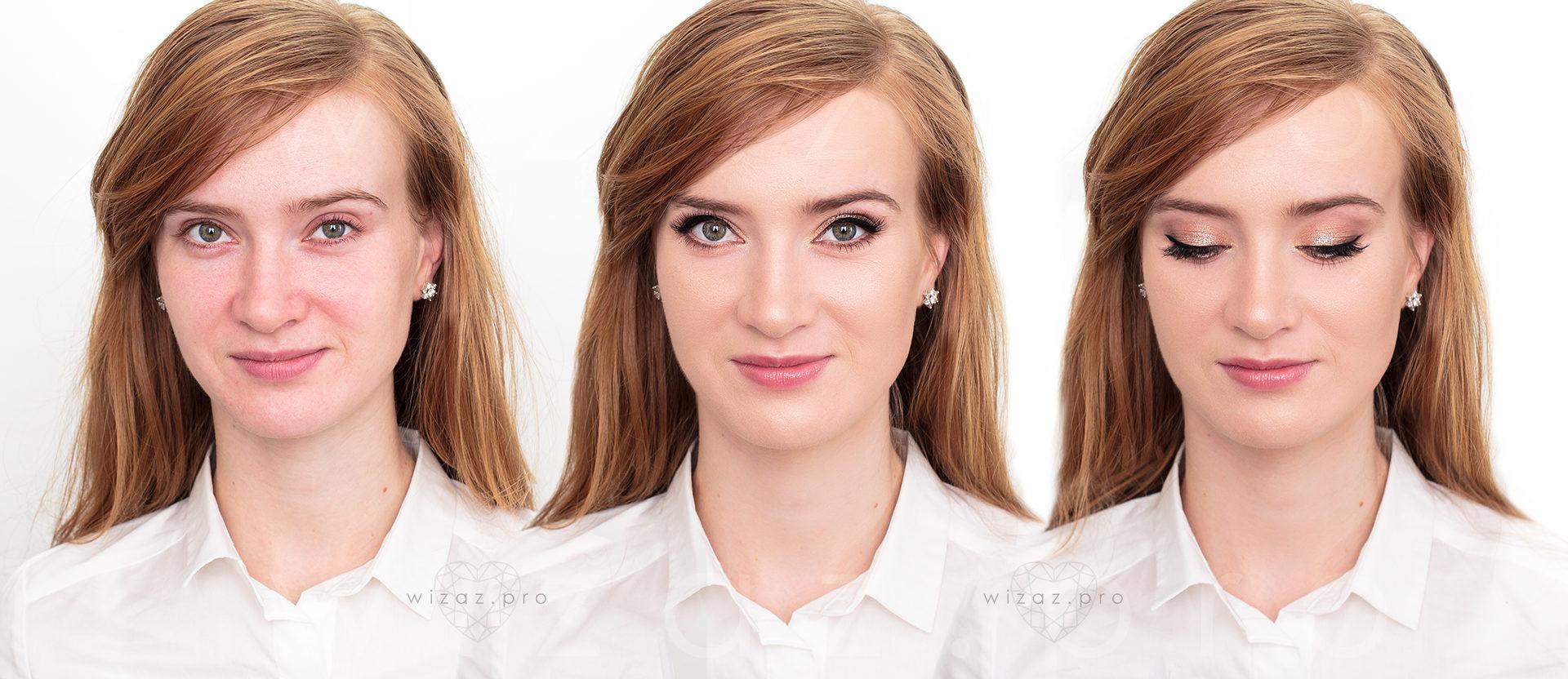Rozświetlający makijaż ślubny dla rudowłosej z zielonymi oczami