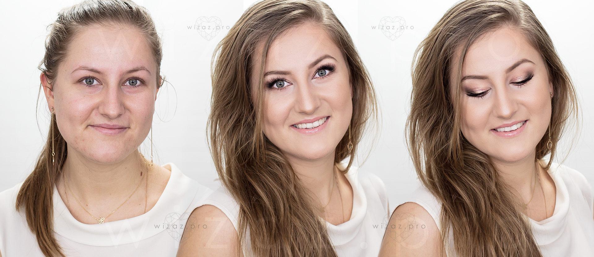 Delikatny i rozświetlający makijaż ślubny dla blondynki z niebieskimi oczami