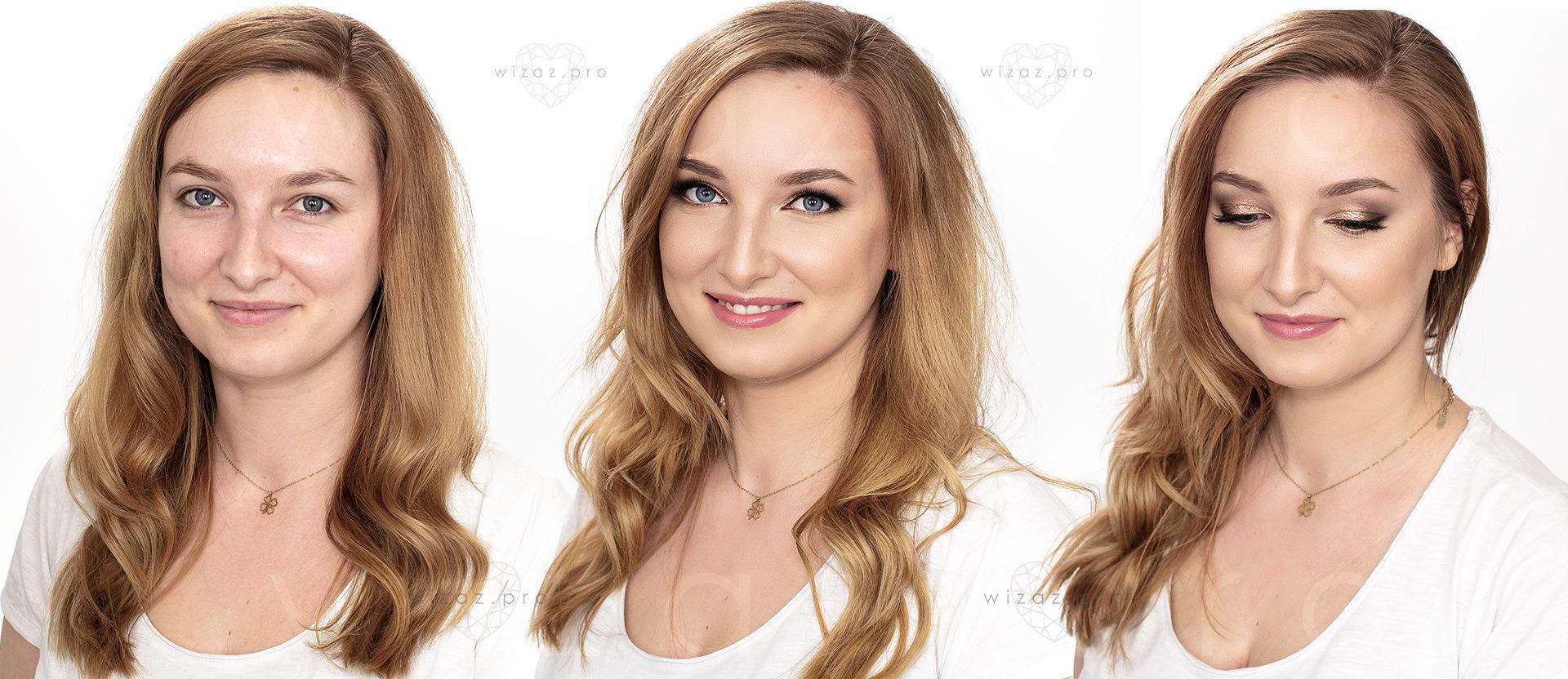 Elegancki i rozświetlający makijaż ślubny dla blondynki z niebieskimi oczami