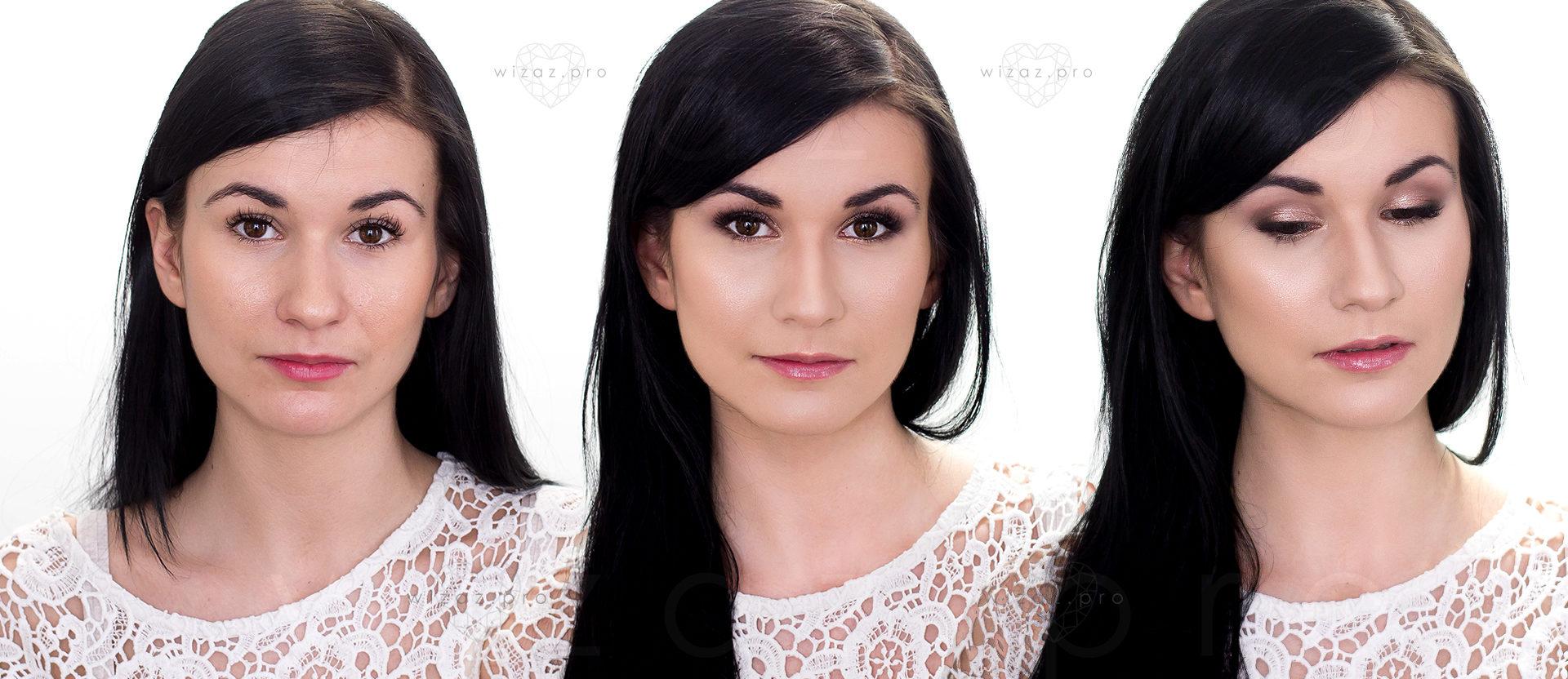 Mocny i rozświetlający makijaż ślubny dla brunetki z ciemnymi piwnymi oczami