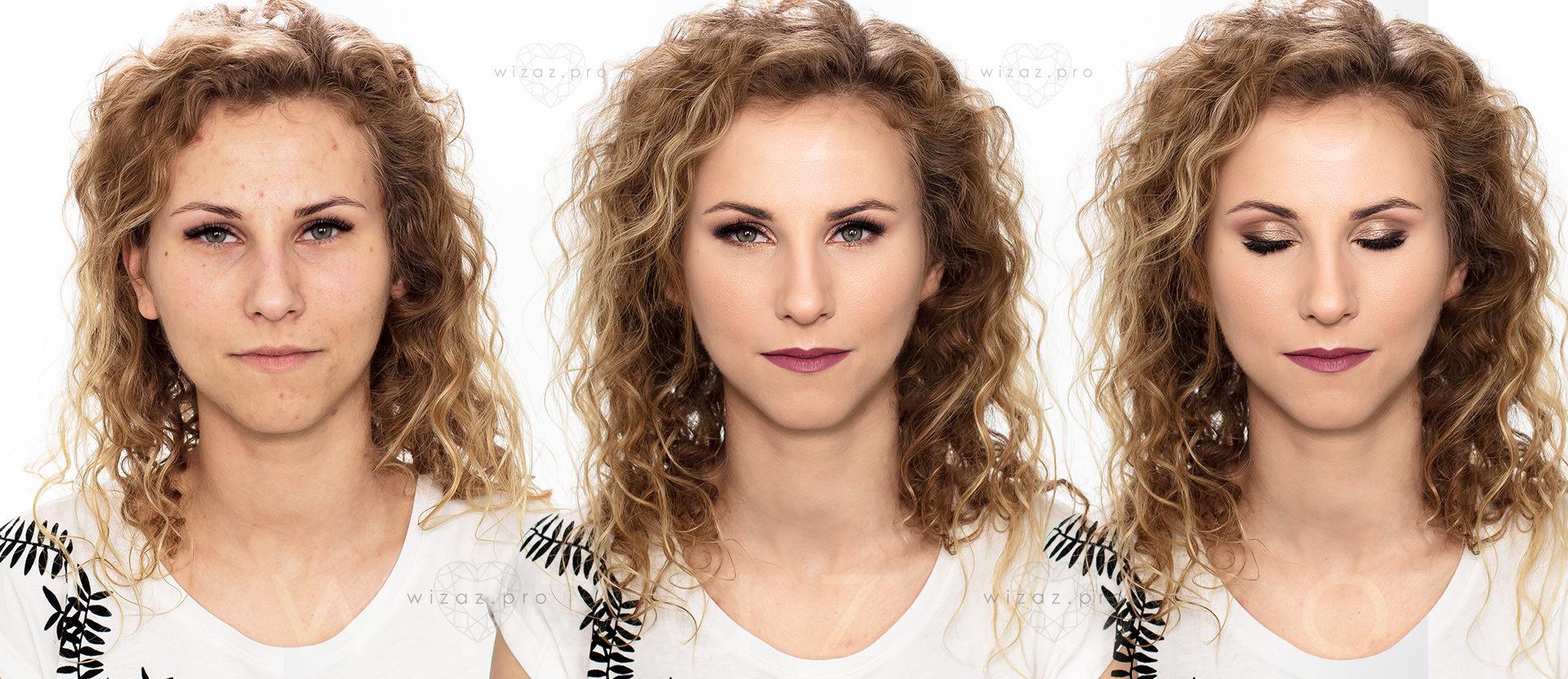 Rozświetlający makijaż ślubny cery trądzikowej dla blondynki z zielonymi oczami
