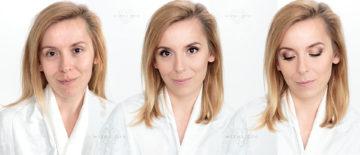 Rozświetlający makijaż ślubny dla blondynki z brązowymi oczami