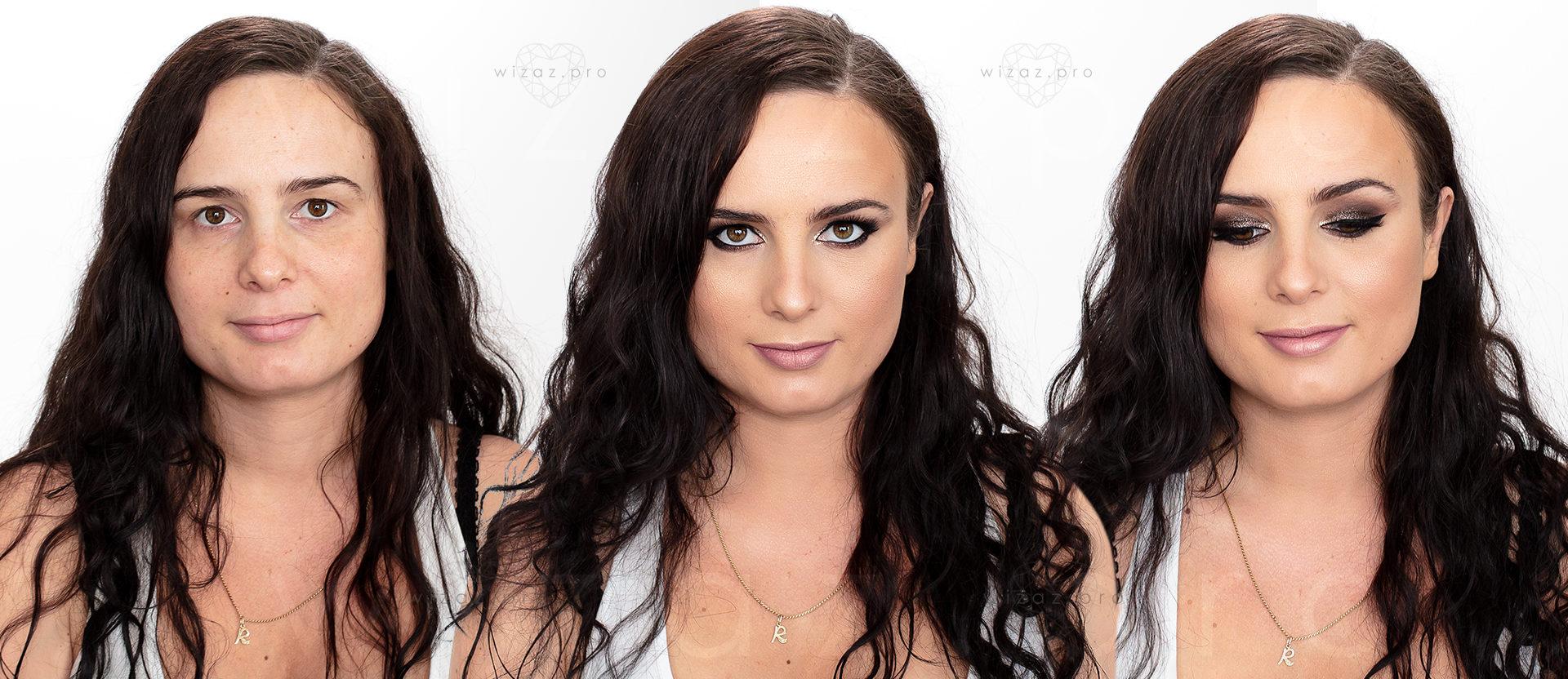 Ciemne smoky eye – makijaż ślubny dla brunetki z ciemnymi piwnymi oczami