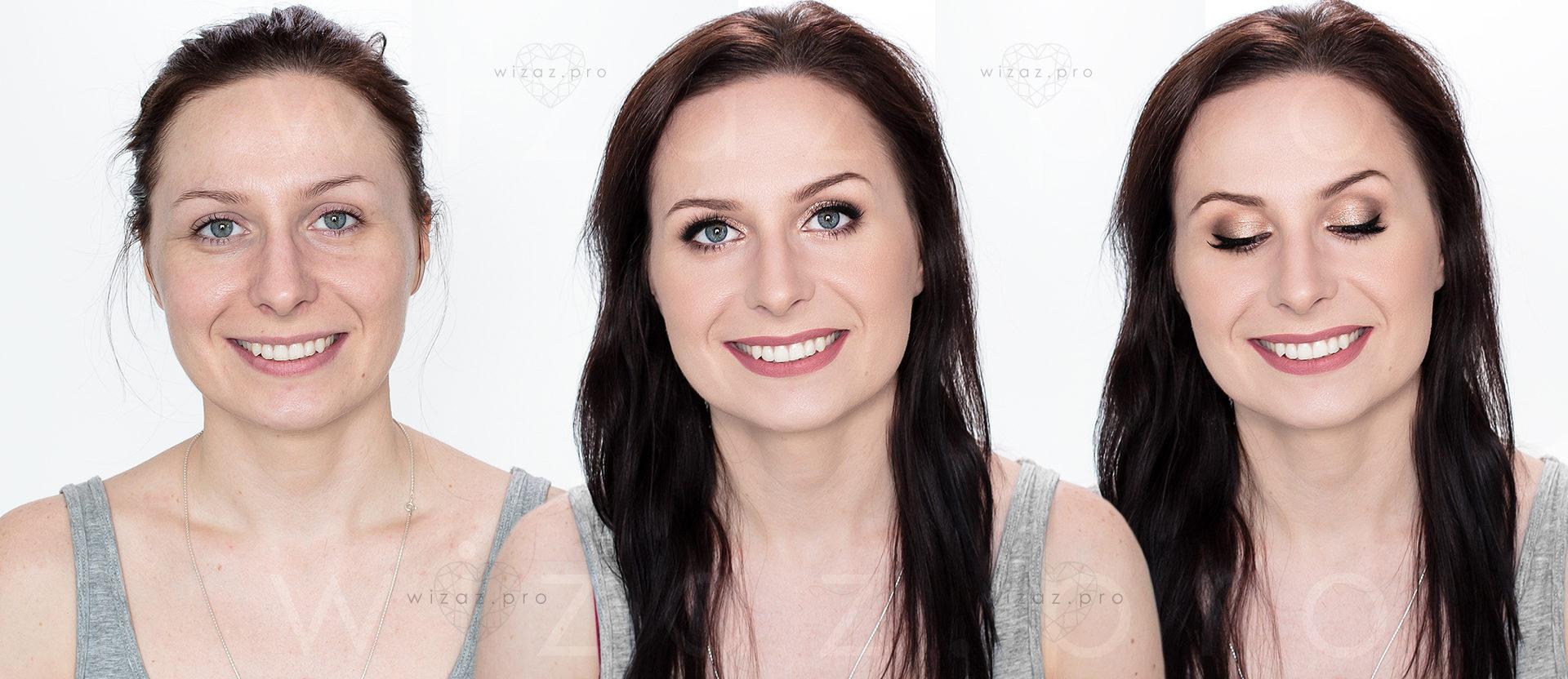 Mocny i rozświetlający makijaż ślubny dla brunetki z ciemnoniebieskimi oczami.
