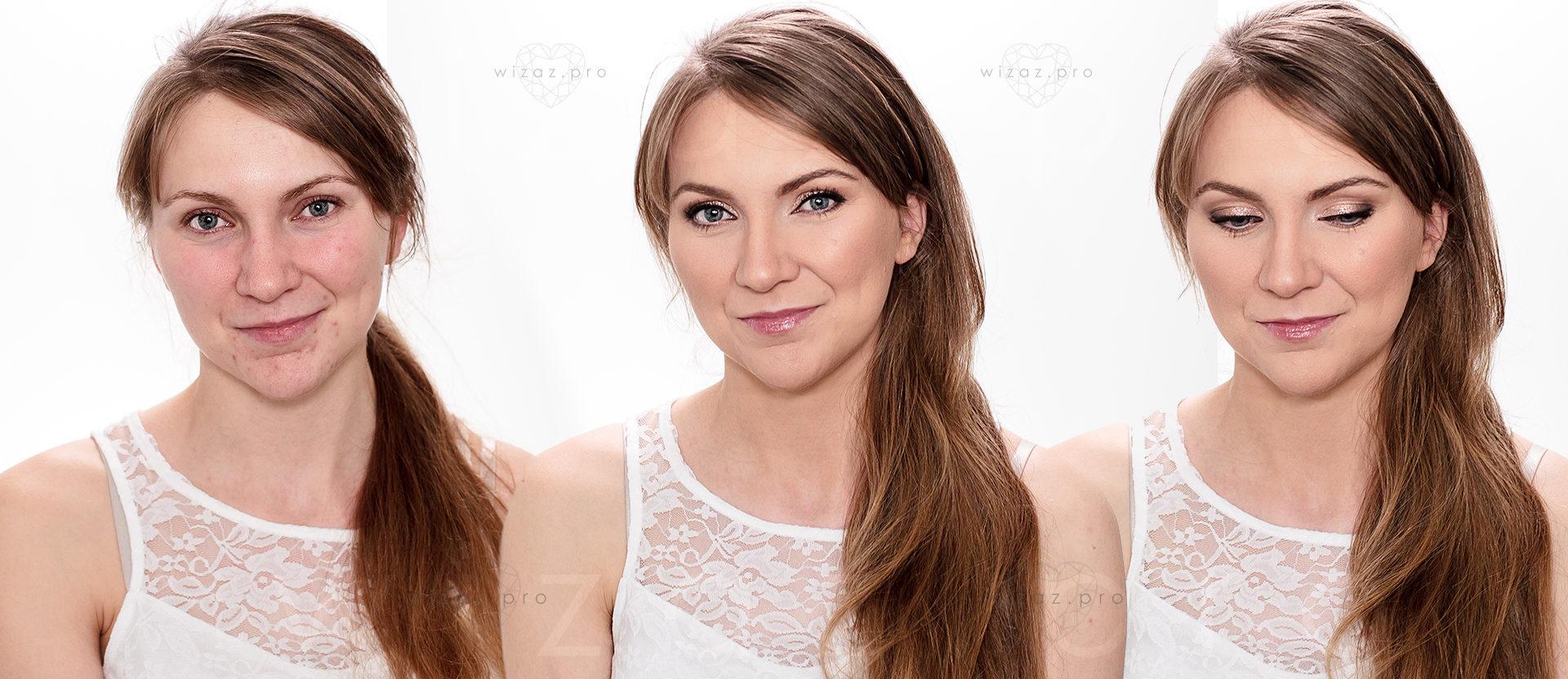 Elegancki makijaż korekcyjny dla blondynki z niebieskimi oczami