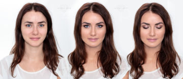"""Makijaż ślubny """"pełne rozświetlenie"""" dla brunetki z niebieskimi oczami."""