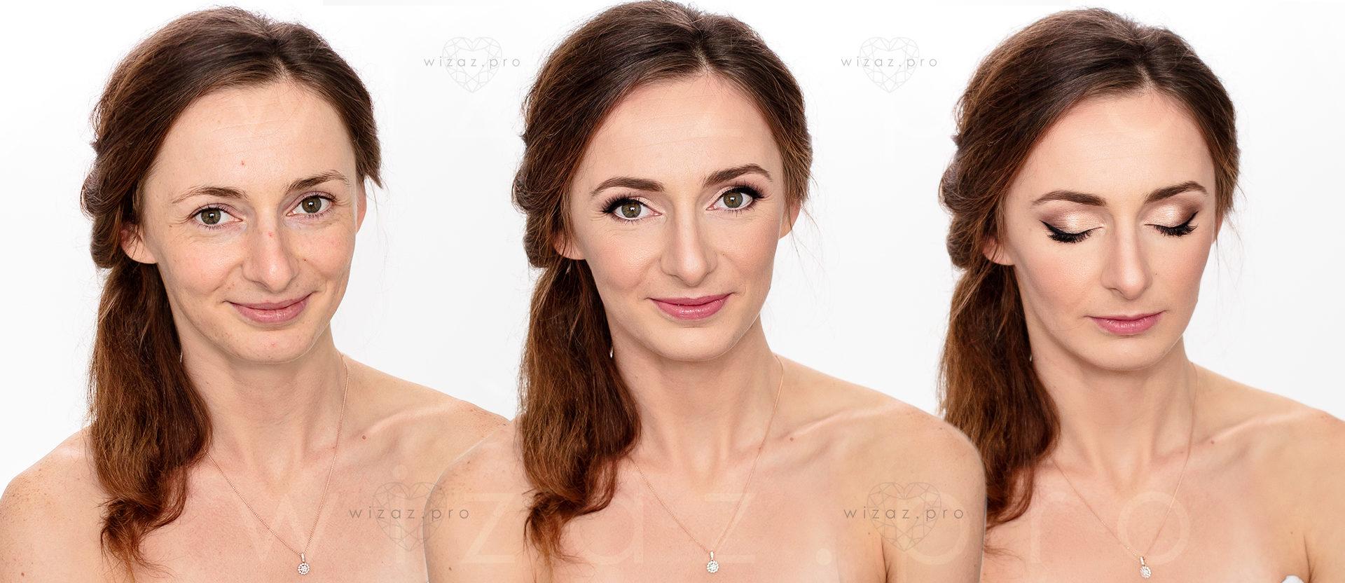 Rozświetlający makijaż ślubny dla rudowłosej z ciemnozielonymi oczami.