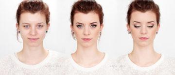 Rozświetlający makijaż ślubny dla rudowłosej z niebieskimi oczami