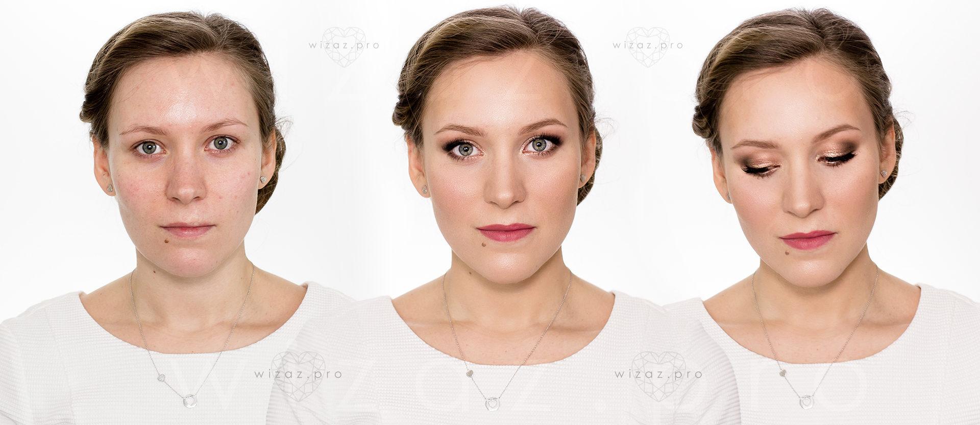 Elegancki i rozświetlający makijaż dla blondynki z niebieskimi oczami