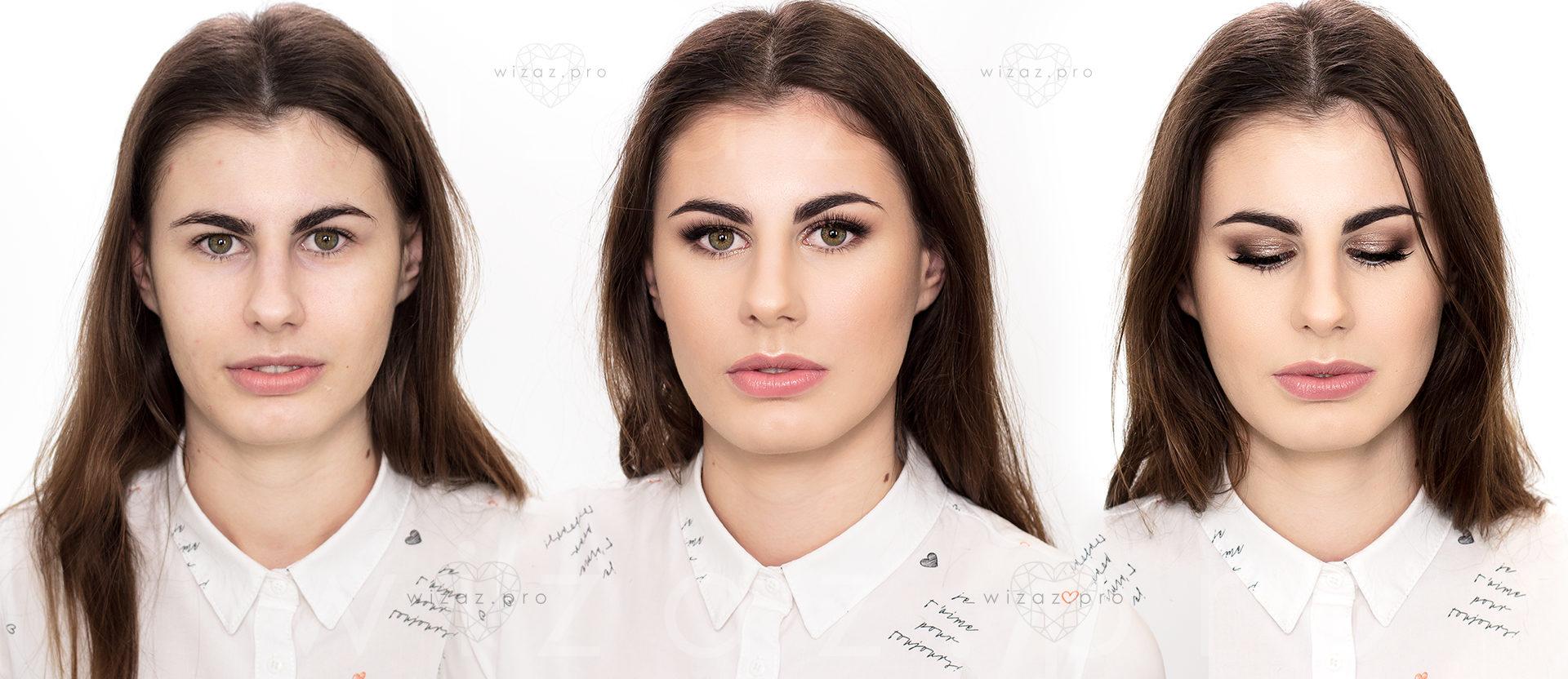 Mocny i rozświetlający makijaż ślubny dla brunetki z zielonymi oczami