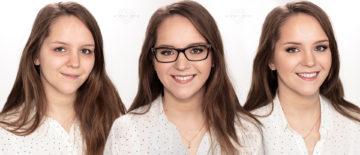 Rozświetlający makijaż ślubny do okularów dla szatynki z brązowymi oczami
