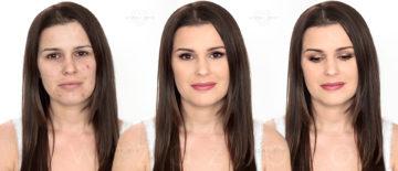 Makijaż ślubny cery trądzikowej dla brunetki z piwnymi oczami