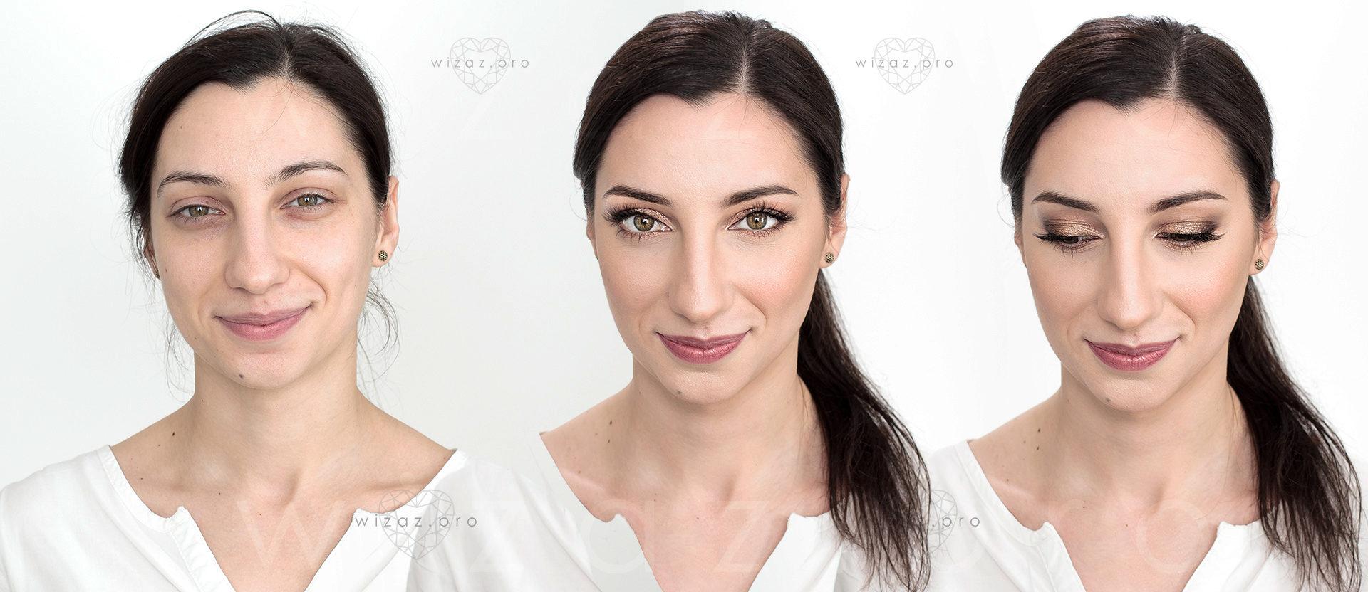 Delikatny i rozświetlający makijaż ślubny dla brunetki z orzechowymi oczami