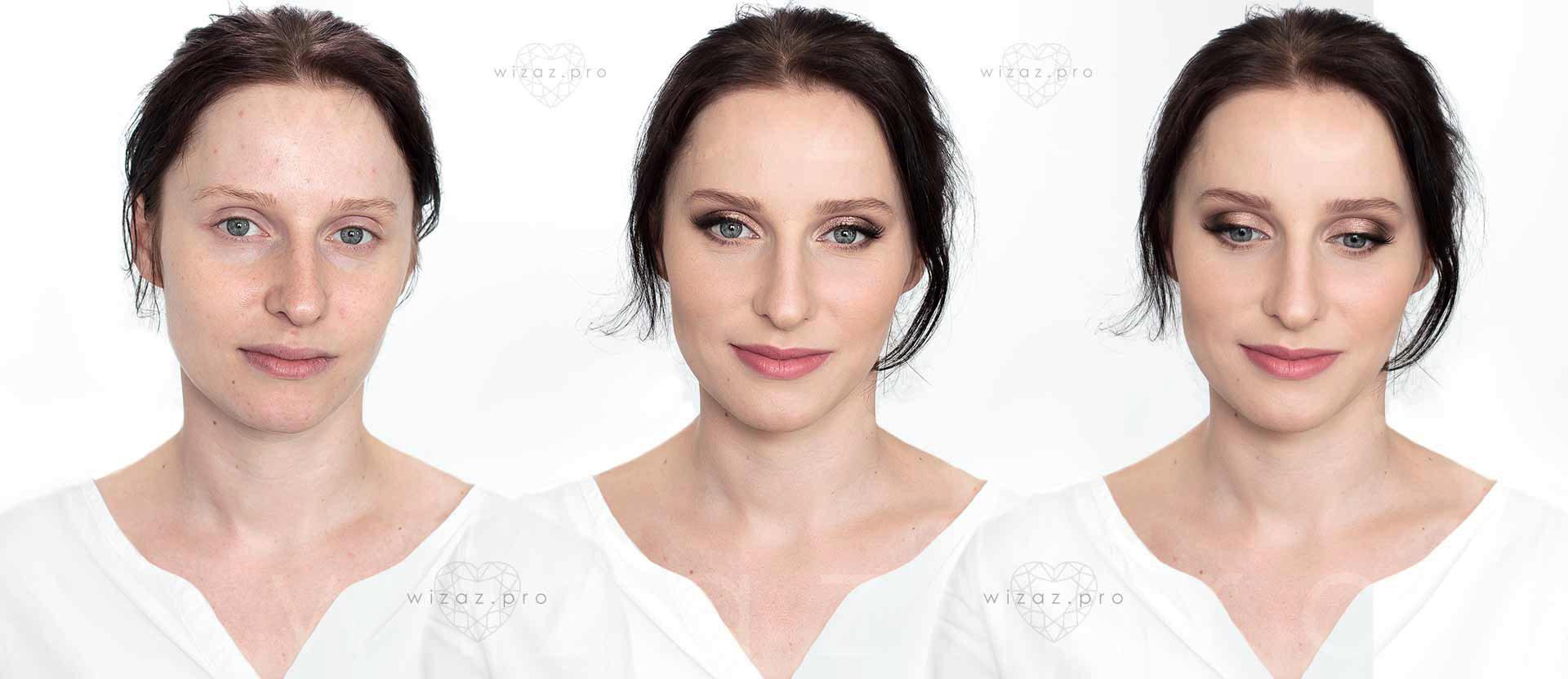 Rozświetlający makijaż ślubny dla szatynki z niebieskimi oczami