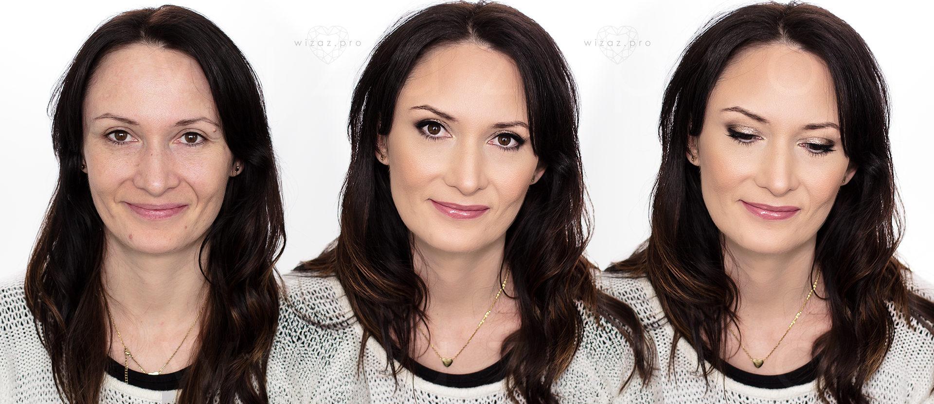 Mocny i rozświetlający makijaż ślubny dla brunetki z piwnymi oczami
