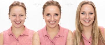 Rozświetlający makijaż ślubny z kreską dla blondynki z niebieskimi oczami