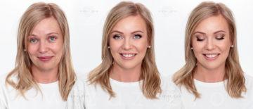 Korekcyjny makijaż ślubny dla blondynki z niebieskimi oczami