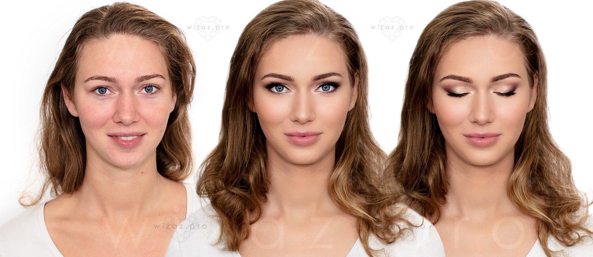 Makijaż ślubny podkreślający urodę dla niebieskookiej blondynki