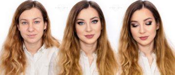 Makijaż ślubny podkreślający rude włosy i niebieskie oczy
